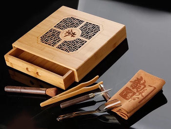 Tea drawer - carved bamboo
