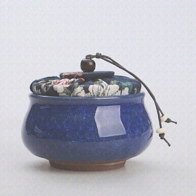 Tea caddy - cracked ice - sapphire blue