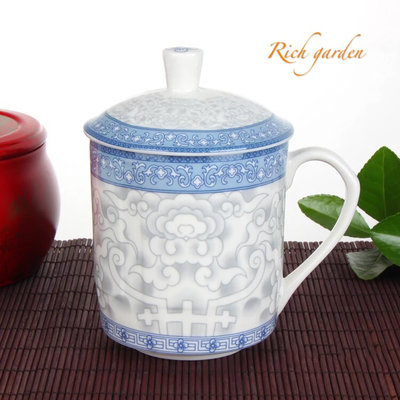 Teacup with lid - rich garden