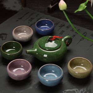 Tea set for 6 - cracked ice - 6 colors